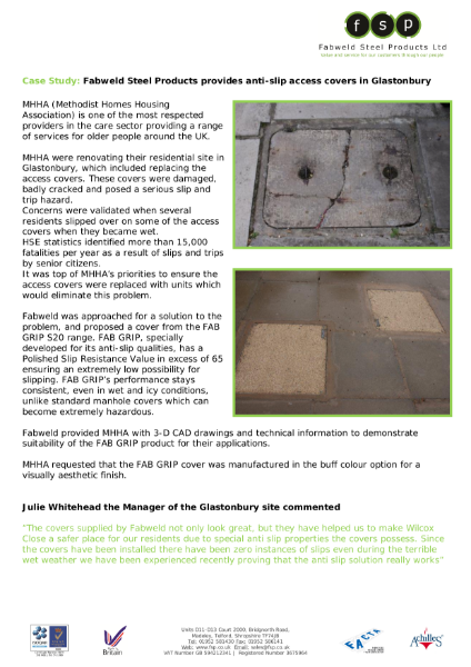 Fabweld Steel Products provides anti-slip access covers in Glastonbury