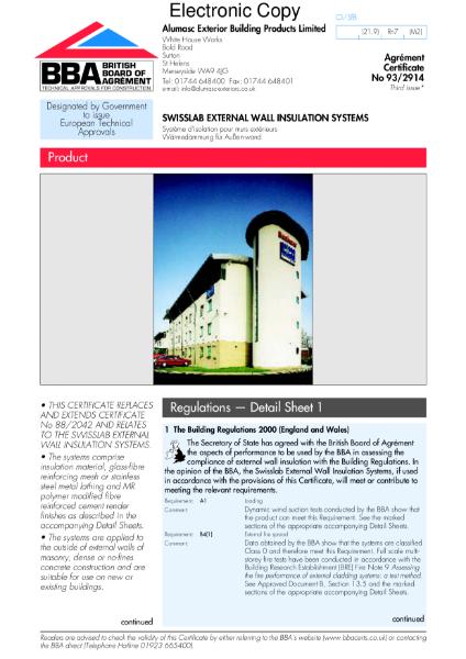 93/2914 Swisslab external wall insulation systems