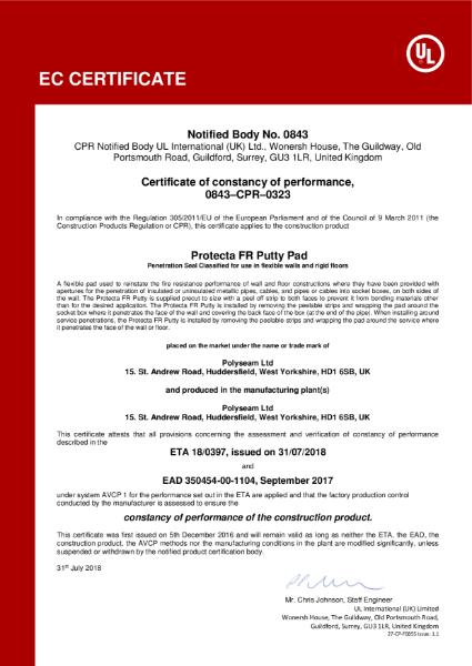 Protecta FR Putty Pad - EC Certificate