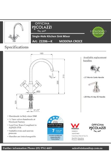 Z2206 Modena croce technical specification.