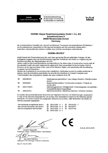 EC Certificate of Conformity - Dorma Moveo