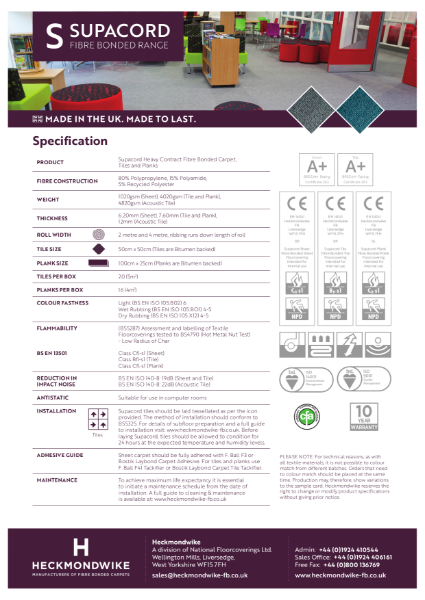 Heckmondwike - Supacord - Specification Sheet