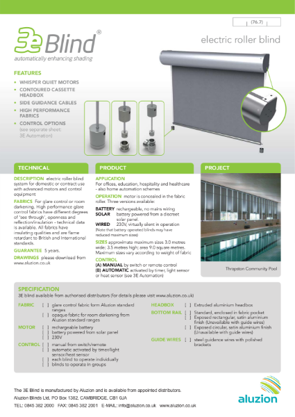 Aluzion 3E Blind Specification and Data Sheet