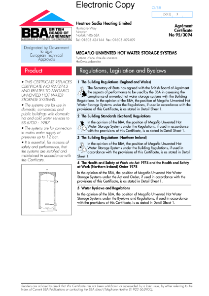 95/3094 Megaflo unvented hot water storage systems