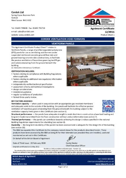 Cordek Ventform BBA Certificate
