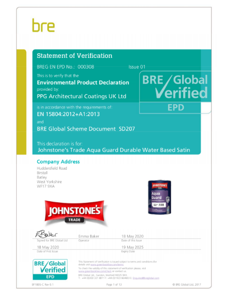 Environmental Product Declaration (EPD): BREG EN EPD No.: 000308