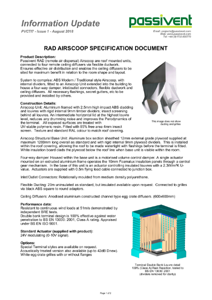 Passivent Specification Document - Airscoop Roof Ventilation Terminal - Remote Air Dispersal
