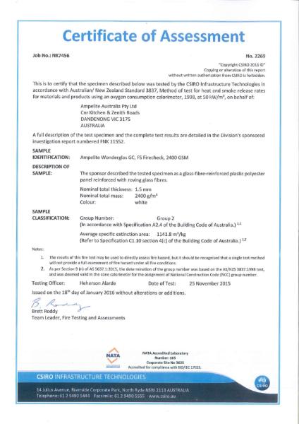AS/NZS 3837 Certificate of Assessment for Ampelite Wonderglass GC, FS Firecheck, 2400 GSM