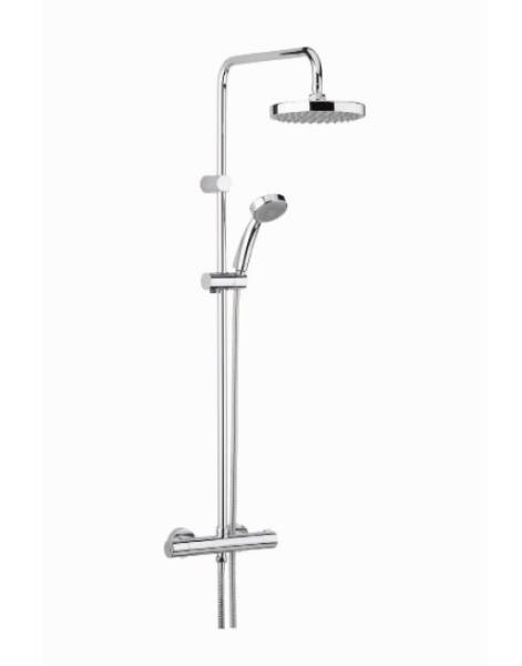 CR SHXDIVFF C - Carre Exposed Fixed Head Bar Shower with Rigid Riser and Integral Diverter to Handset