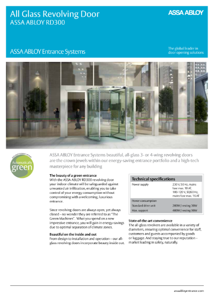 Automatic Revolving Door - Compact All Glass - ASSA ABLOY RD300
