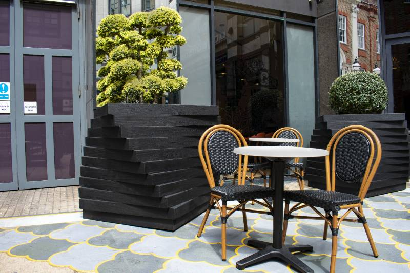 MEDITE TRICOYA EXTREME used in distinctive planters at Hammersmith Station