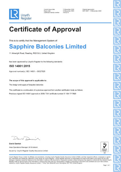 Certificate of Approval 14001