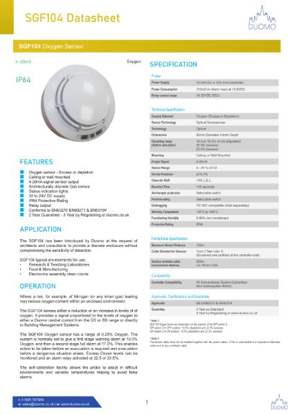 SG104 Oxygen Sensor Datasheet