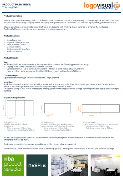 ThinkingWall Whiteboard Data Sheet