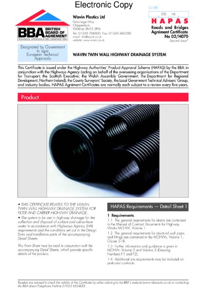 02/H070 Wavin Twinwall highway drainage system