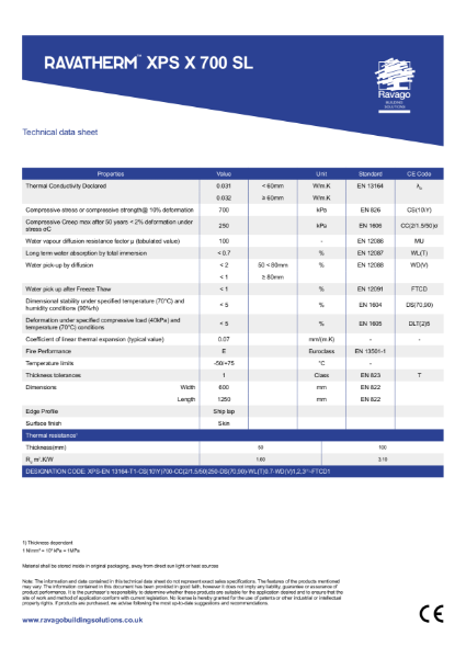 Ravatherm XPS X 700 SL Technical Data Sheet