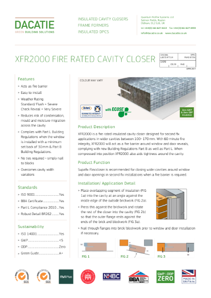 XFR2000 - 1hour Fire Rated Cavity Closer (100 to 170mm Cavities) Data Sheet