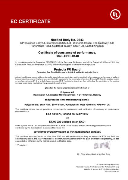 Protecta FR Board - EC Certificate