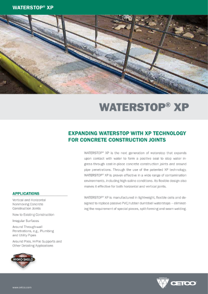 WATERSTOP® XP - EXPANDING WATERSTOP WITH XP TECHNOLOGY FOR CONCRETE CONSTRUCTION JOINTS