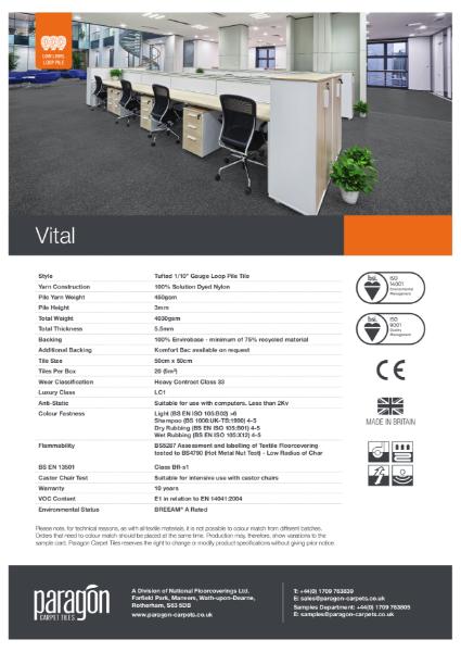 Paragon Carpet Tiles - Vital - Specification Information