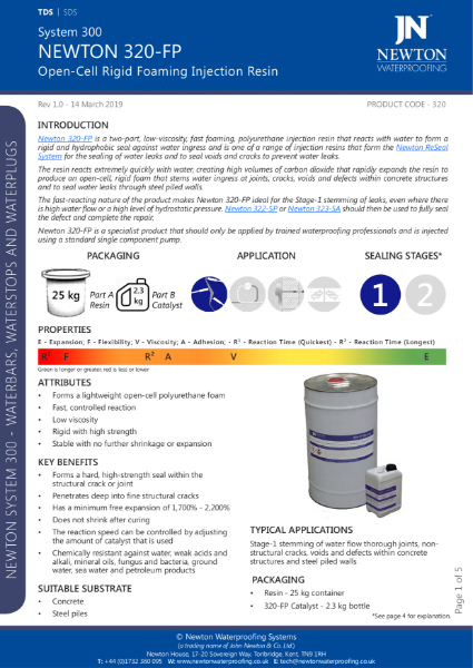 Newton 320-FP Injection Resin Data Sheet
