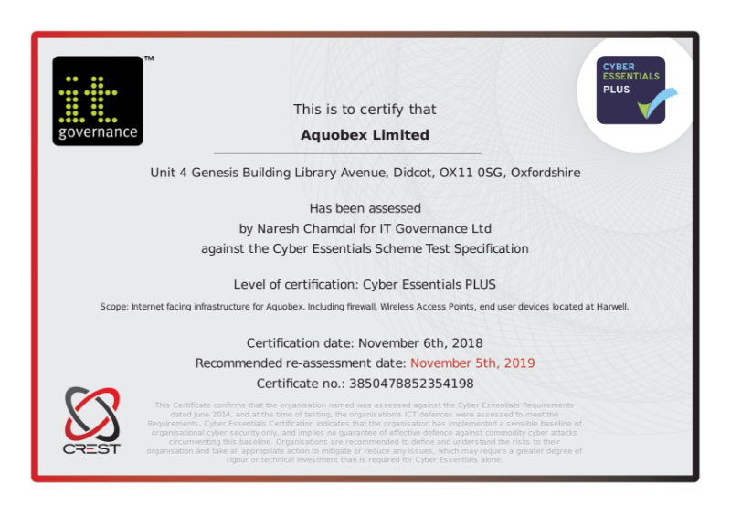 Cyber Essentials Plus Test Certificate