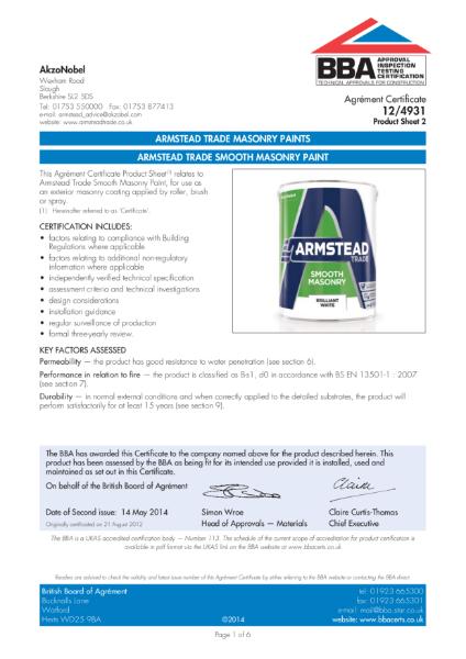 12 4931 (PS2) ARMSTEAD TRADE SMOOTH MASONRY PAINT