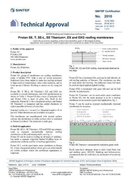 SINTEF Technical Approval 2010 for Protan SE, T, SE-L, SE Titanium+, EX and EX-G Membranes