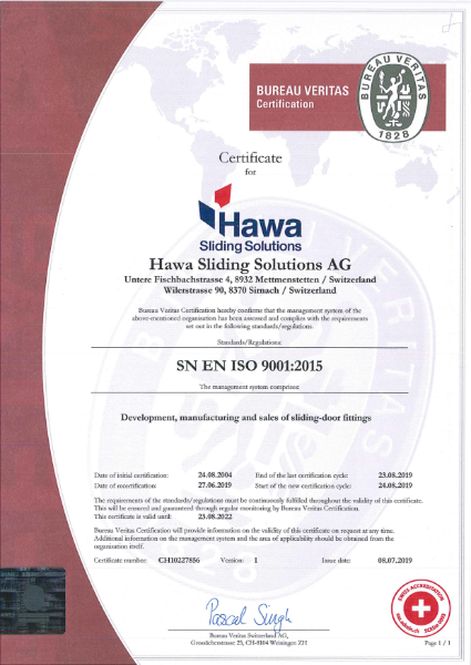 Hawa Sliding Solurions AG ISO 9001 Certification