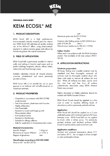 Keim Ecosil ME Technical Data Sheet