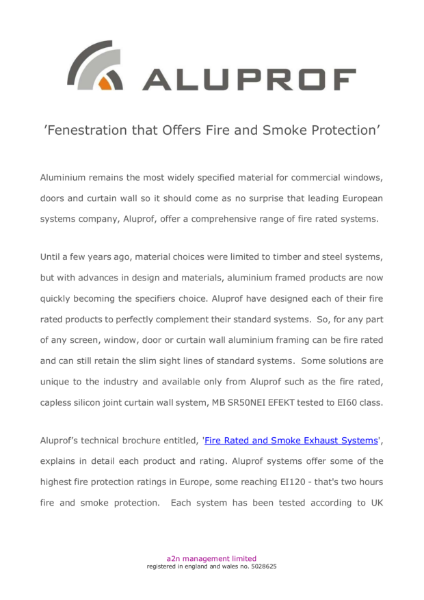 Fenestration that offers fire and smoke protection
