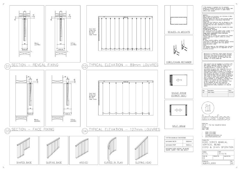 6000 Series Vertical Blind - Drawing Manual Cord