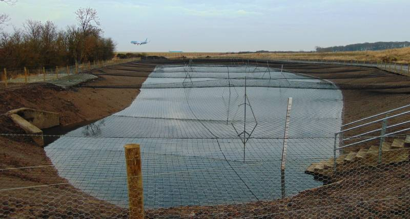 SuDS Pond - Groundwater Control, Pozidrain, Newcastle Airport, UK
