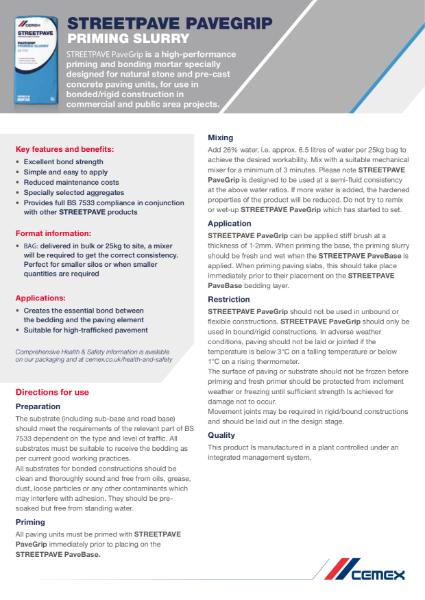 CEMEX Pavegrip - Technical Datasheet