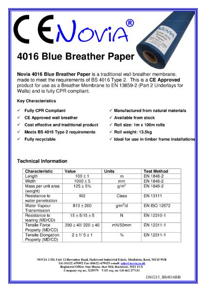 Novia BS 4016 - Type 2 Breather Paper