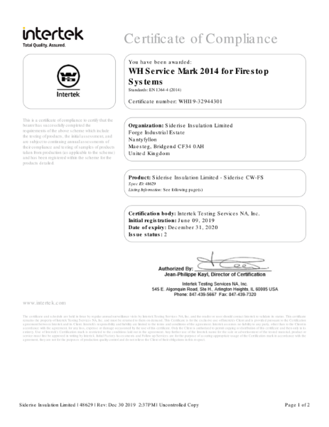 Intertek Certificate of Compliance - Siderise Insulation Ltd - CW FS