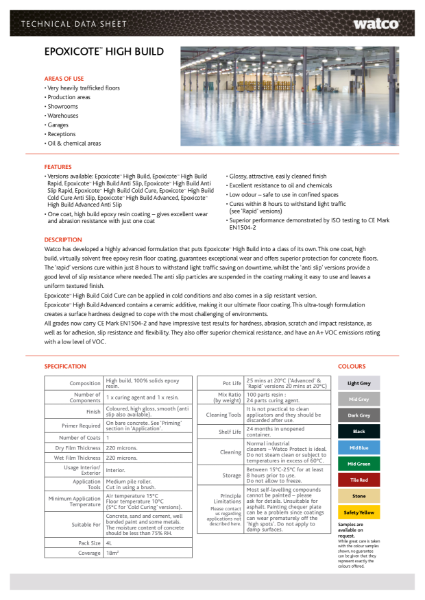 Data Sheet: Epoxicote High Build Range