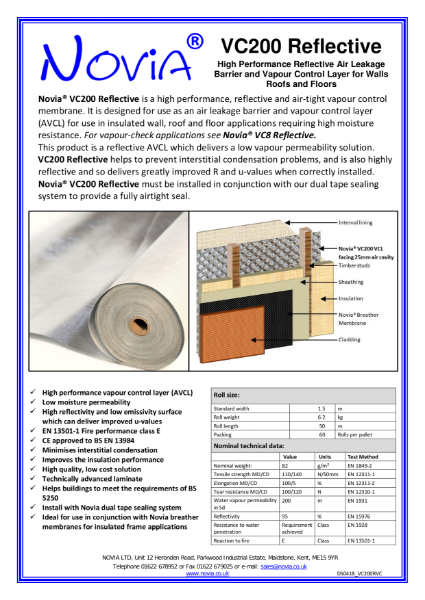 Novia® VC200 Reflective Air Leakage Barrier and Vapour Control Layer