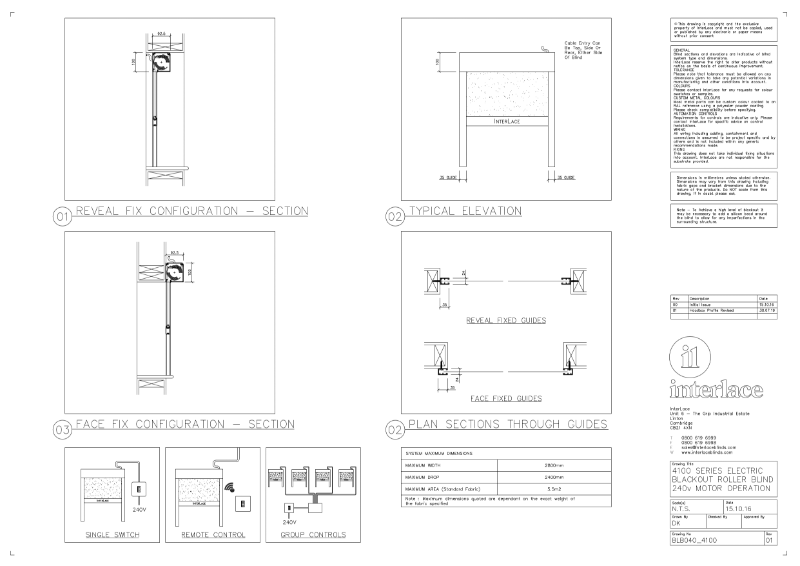 4100 Series Blackout Blind - Drawing Motorised