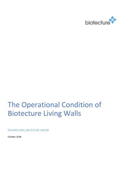 Biotecture Living Wall - Operational Conditions