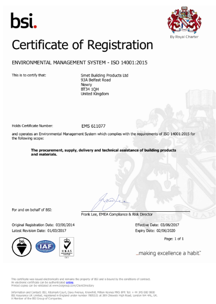 BSI Certificate of Registration ISO 14001:2015