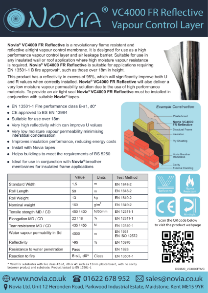Novia VC4000 FR Reflective Air Leakage and Vapour Control Layer