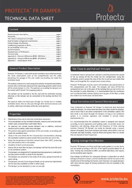 FR Damper - Intumescent Fire Damper For Fireproofing Ventilation Ducts