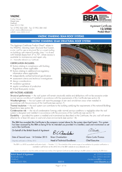 12/4900 VMZINC STANDING SEAM STRUCTURAL ROOF SYSTEM