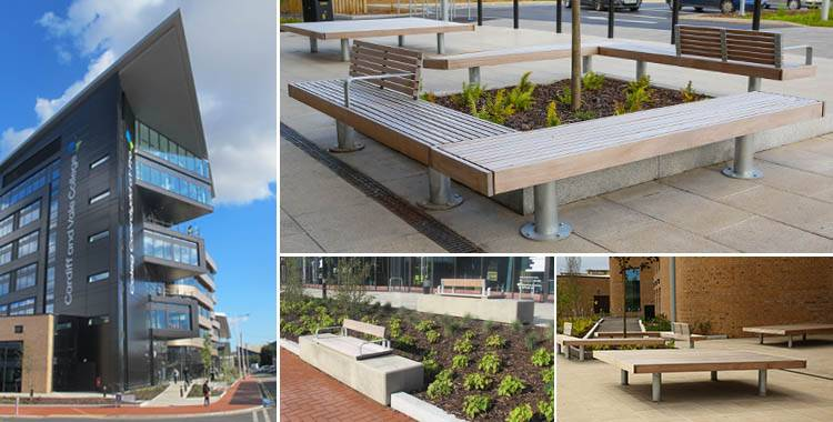 Bespoke external furniture for Cardiff & Vale College