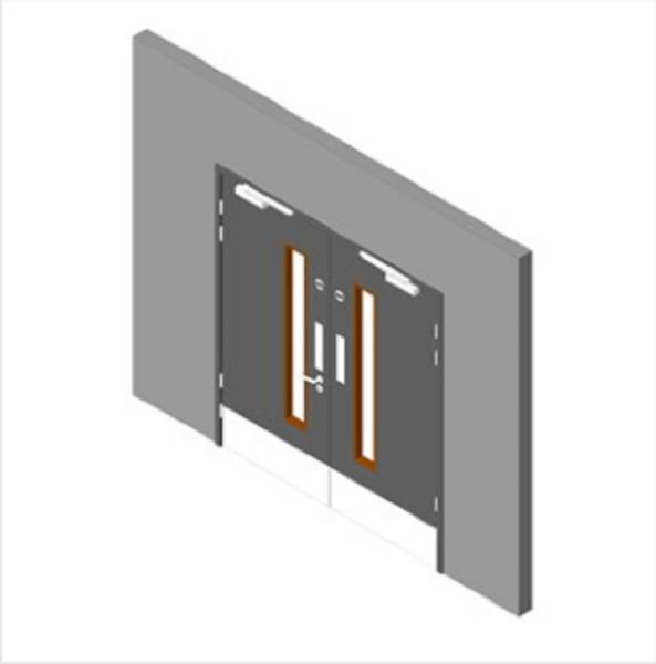 Education Range: Stairwell Double Doorset with 1 Vision Panel