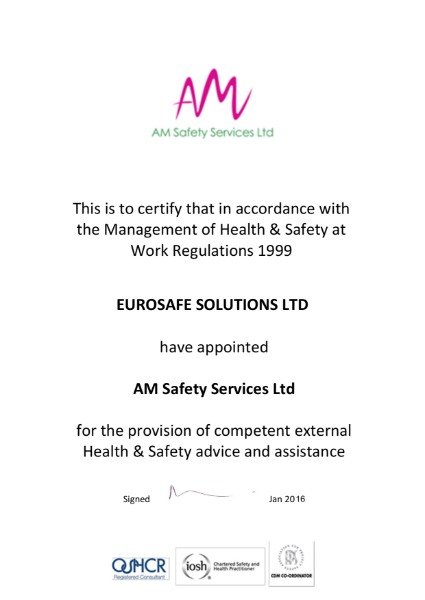 AM Safety Services Certificate