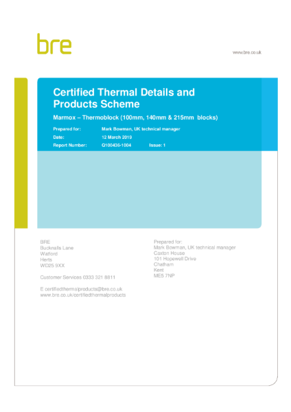 Thermoblock designs in BRE certified Products Scheme