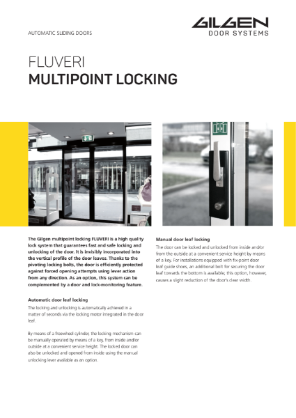 Gilgen Fluveri Multipoint Door Locking System