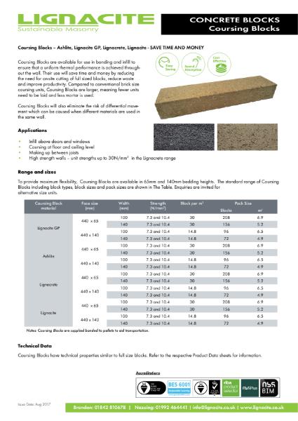 Lignacite Concrete Coursing Blocks
